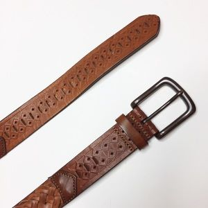 Brown leather braided belt Classic Western style